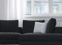 Comfortable classic upholstered sofa near a window royalty free illustration