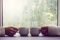 Comfortable coffee break for two people Royalty Free Stock Image