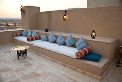 Comfortable couch in the resort. A view of a comfortable lounging area at a tropical resort in Marsa Alam, Egypt Stock Photography