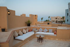 Comfortable couch in the resort. A view of a comfortable lounging area at a tropical resort in Marsa Alam, Egypt Royalty Free Stock Images