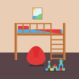 Comfortable cozy baby room decor children bedroom interior with furniture and toys vector. Stock Photos