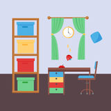 Comfortable cozy baby room decor children bedroom interior with furniture and toys vector. Stock Photography