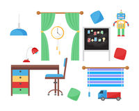 Comfortable cozy baby room decor children bedroom interior with furniture and toys vector. Stock Photo