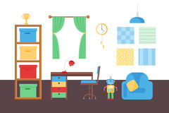 Comfortable cozy baby room decor children bedroom interior with furniture and toys vector. Royalty Free Stock Photography