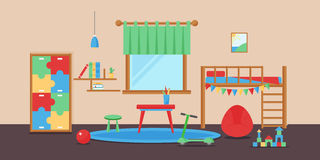 Comfortable cozy baby room decor children bedroom interior with furniture and toys vector. Apartment design infant nursery childhood boy bookshelf curtains vector illustration