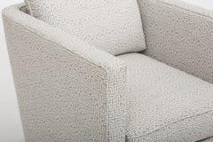 Comfortable Cream colour studded back luxury sofa with white background - Stock image stock image