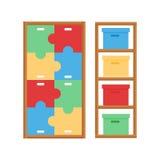 Comfortable cupboard cabinet baby room decor children bedroom interior furniture vector. Stock Photos