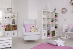 Comfortable decor of a contemporary baby room royalty free stock image