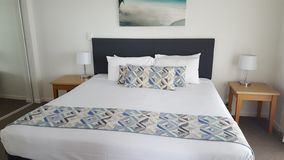 Comfortable double bedroom of my fantastic luxurious apartment at the Alpha Sovereign Resort, North Surfers Paradise, Qld, Aust. Comfortable double bedroom stock photo