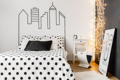 Comfortable female bedroom Stock Images