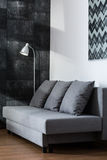 Comfortable gray sofa Stock Images
