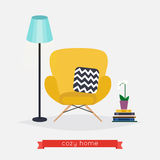 Comfortable home armchair and floor lamp, books and plant. Livin Stock Photos