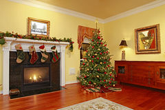 Comfortable Home with Christmas Tree. Comfortable Home with Fire Place and Christmas Tree Royalty Free Stock Photos