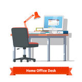 Comfortable home workplace with turned on desktop Royalty Free Stock Photography