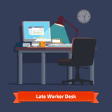 Comfortable home workplace with turned on desktop Stock Image