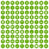 100 comfortable house icons hexagon green. 100 comfortable house icons set in green hexagon isolated vector illustration Royalty Free Stock Image
