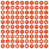 100 comfortable house icons hexagon orange. 100 comfortable house icons set in orange hexagon isolated vector illustration Stock Illustration