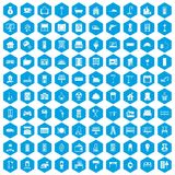 100 comfortable house icons set blue. 100 comfortable house icons set in blue hexagon isolated vector illustration Stock Photo