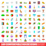 100 comfortable house icons set, cartoon style. 100 comfortable house icons set in cartoon style for any design vector illustration Royalty Free Stock Photography