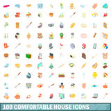 100 comfortable house icons set, cartoon style Royalty Free Stock Images