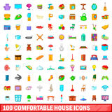 100 comfortable house icons set, cartoon style Royalty Free Stock Photo
