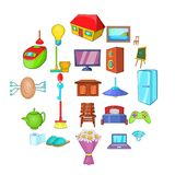 Comfortable house icons set, cartoon style. Comfortable house icons set. Cartoon set of 25 comfortable house vector icons for web isolated on white background royalty free illustration