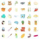 Comfortable house icons set, cartoon style Stock Image