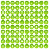 100 comfortable house icons set green circle Royalty Free Stock Images