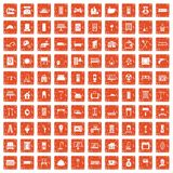 100 comfortable house icons set grunge orange. 100 comfortable house icons set in grunge style orange color isolated on white background vector illustration Stock Images