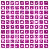 100 comfortable house icons set grunge pink. 100 comfortable house icons set in grunge style pink color isolated on white background vector illustration Stock Photo