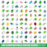 100 comfortable house icons set, isometric style. 100 comfortable house icons set in isometric 3d style for any design illustration royalty free illustration