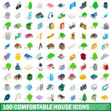 100 comfortable house icons set, isometric style. 100 comfortable house icons set in isometric 3d style for any design vector illustration Stock Images