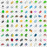 100 comfortable house icons set, isometric style. 100 comfortable house icons set in isometric 3d style for any design vector illustration Royalty Free Stock Photography