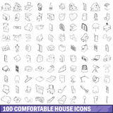 100 comfortable house icons set, outline style Royalty Free Stock Photo