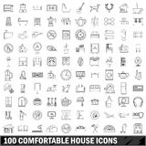 100 comfortable house icons set, outline style. 100 comfortable house icons set in outline style for any design vector illustration Stock Photo