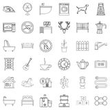 Comfortable house icons set, outline style Royalty Free Stock Photo