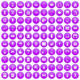 100 comfortable house icons set purple. 100 comfortable house icons set in purple circle isolated on white vector illustration royalty free illustration