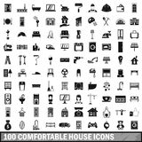 100 comfortable house icons set in simple style Stock Photography