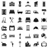 Comfortable house icons set, simple style. Comfortable house icons set. Simple style of 36 comfortable house vector icons for web isolated on white background Royalty Free Stock Photos