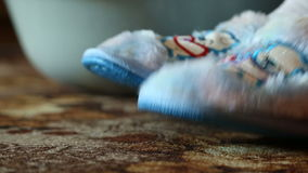 Comfortable house slippers with beautiful blue bears stock footage