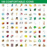 100 comfortable icons set, cartoon style. 100 comfortable icons set in cartoon style for any design vector illustration Stock Image