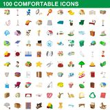 100 comfortable icons set, cartoon style. 100 comfortable icons set in cartoon style for any design illustration royalty free illustration