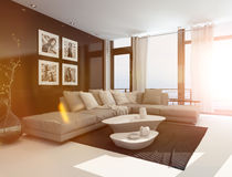 Comfortable livingroom interior in bright sunlight. Comfortable living room interior with an upholstered corner lounge suite, coffee tables and artwork on the Royalty Free Stock Photography