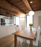 Comfortable loft furnished. Architecture, comfortable loft furnished, dining room Royalty Free Stock Photos