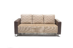 Comfortable luxury sofa made of highest quality linen and leather in beige color. Royalty Free Stock Images