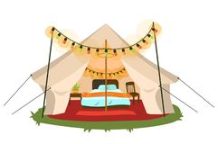 Comfortable marquee with conveniences. Vector illustration. Comfort tent with bed chair and bedside table decorated fancy lights. Glamping and travel concept Vector Illustration
