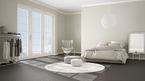 Comfortable modern gray and beige bedroom with wooden parquet floor, panoramic window on winter landscape, carpet, armchair and. Bed with blanket and pillows royalty free illustration