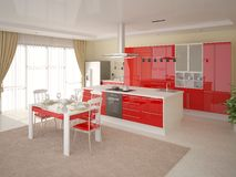Comfortable modern kitchen. Royalty Free Stock Images