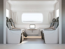 Comfortable modern luxury interior of fast speed train, or first class bus, mockup tv screen, generic design. Clear and empty. 3d Royalty Free Stock Photography