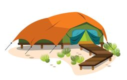 Comfortable modern tent poster. Vector illustration. Capital set up marquee with wooden walkway. Living on nature. Glamping and travel concept. Isolated on Stock Illustration